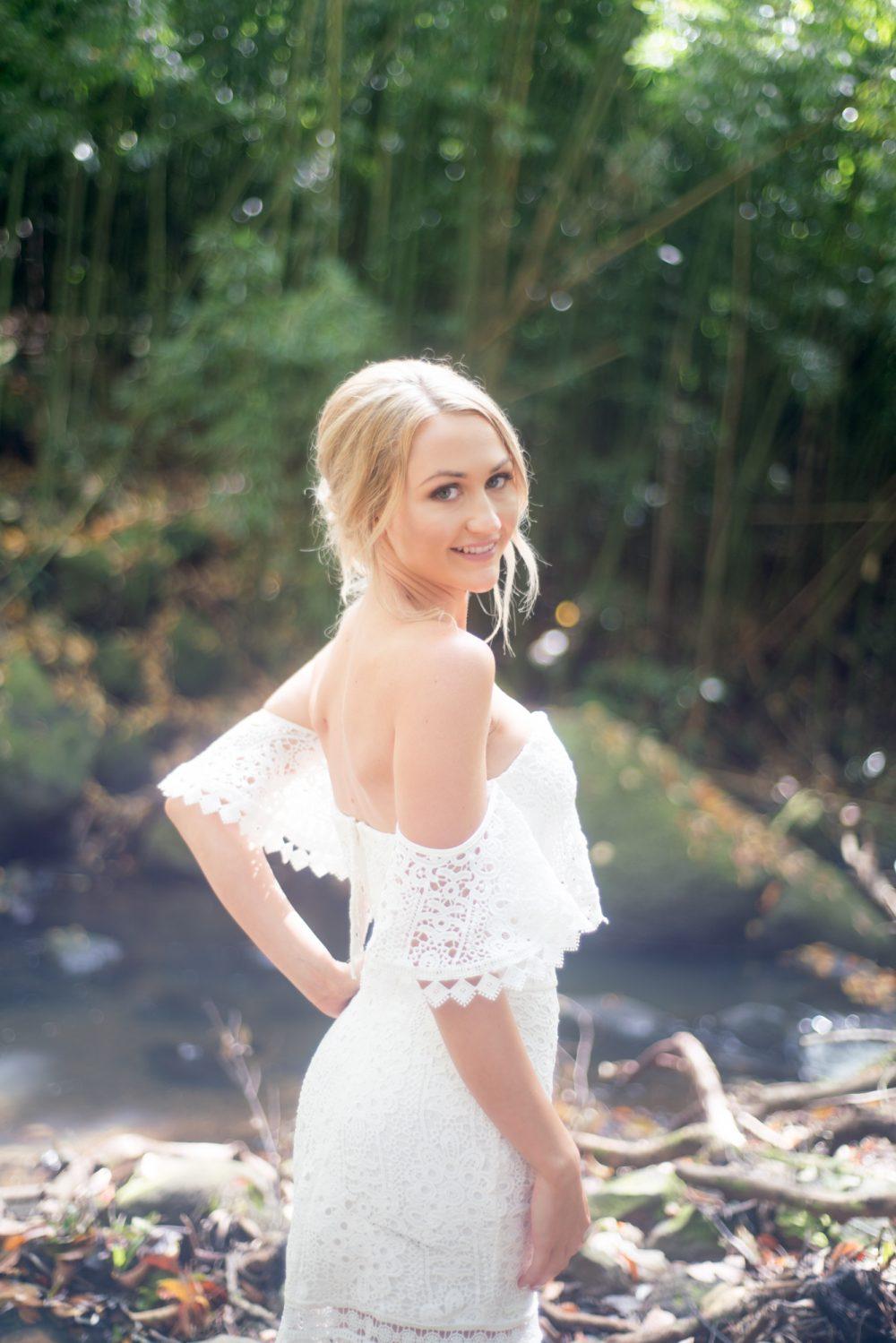 Bride at a Hawaiian waterfall